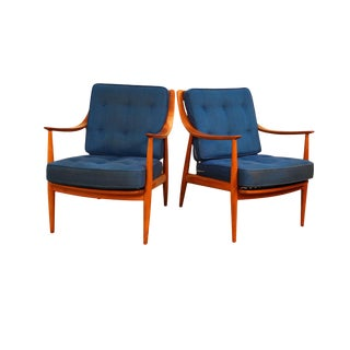 Pair Danish Mid Century Peter Hvidt & Orla Molgaard Nielsen for France & Daverkosen Lounge Chairs For Sale