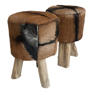Primitive Nubuck Hide Stools With Wood Legs - a Pair For Sale