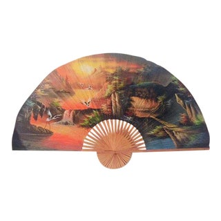 "Vintage Bamboo Fan Wall Hanging Hand Painted Asian Cranes King Headboard Size - 85"" For Sale"