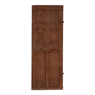 Antique Tall Original Brown Painted Door With Architectural Carved Elements For Sale