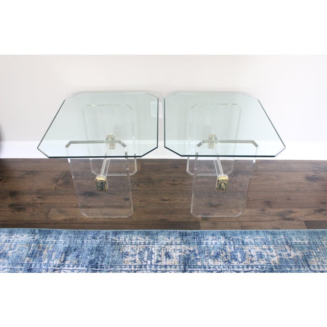 Vintage Lucite Brass and Glass End Tables - Pair - Image 9 of 11