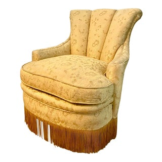 Art Deco Fringe Boudoir Yellow Arm Chair For Sale