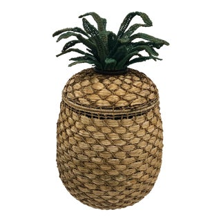 1970s Vintage Wicker Pineapple Lidded Basket For Sale