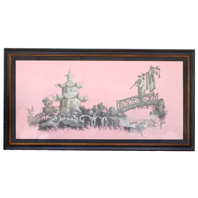 Early 21st Century Vintage Chinoiserie Pagoda & Botanic Scenes of East Asia Painting in Grisailles on Pink For Sale - Image 5 of 5