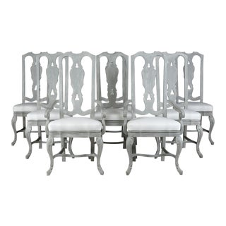 Traditional Regency Style Painted Dining Room Chairs - Set of 8 For Sale