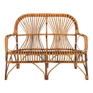 Vintage Bamboo Settee For Sale