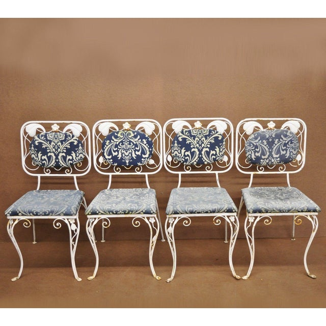 Vintage French Art Nouveau Wrought Iron Floral Dining Chairs - Set of 4 For Sale - Image 13 of 13