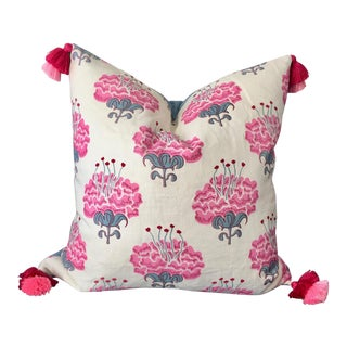 "Custom Katie Ridder Pink and Blue ""Peony"" Pillow Cover For Sale"