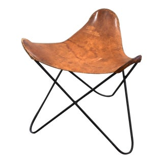 Jorge Ferrari-Hardoy Brown Leather & Iron Butterfly Stool For Sale