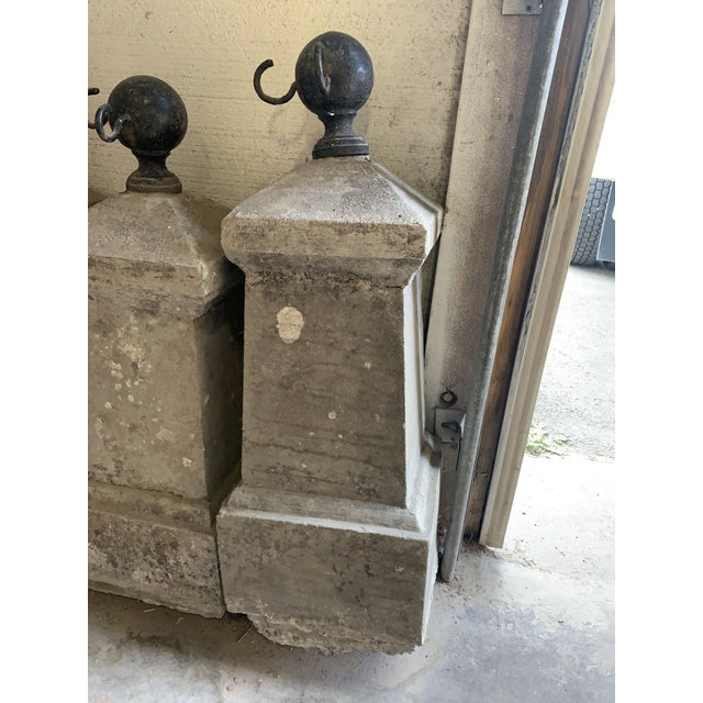 1920s Antique French Chateau Garden Iron and Concrete Bollard Posts - Set of Four For Sale - Image 5 of 13