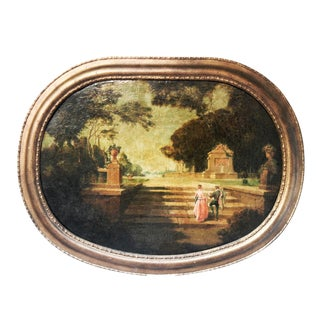 18th Century Antique French Oil on Canvas Oval Framed Painting For Sale