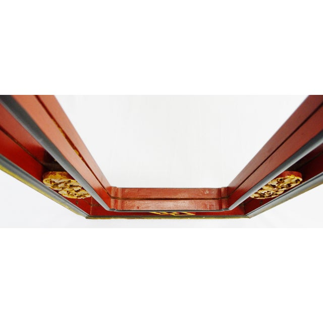 Vintage Chinese Red & Gold Accented Mirror - Image 6 of 10