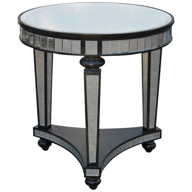 1980s Contemporary Mirror Panel Ebonized Wood Frame Side Table For Sale