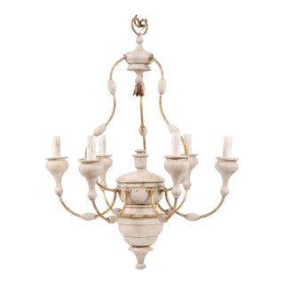 Italian Light Colored Painted Wood and Metal Chandelier with Gold Accents For Sale