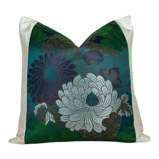 White Lotus & Pine Branch Antique Japanese Silk Obi Pillow Cover For Sale