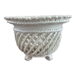 Spanish Twisted Rope Ceramic Planter For Sale