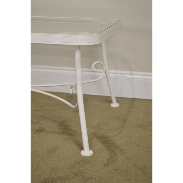 Woodard for Crown Leisure White Wrought Iron Glass Top Patio Coffee Table For Sale In Philadelphia - Image 6 of 13