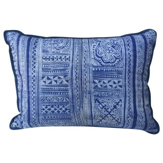 Indigo Blue & White Batik Cotton Pillow