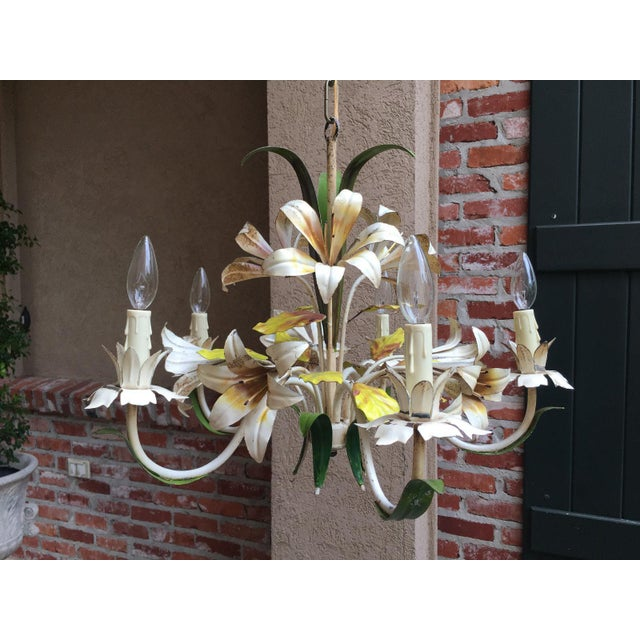 1920s Antique French Tole Flower Polychrome Metal Chandelier For Sale - Image 5 of 10