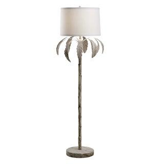 "Palm Floor Lamp, White Wash Iron Finish, 67"" High"