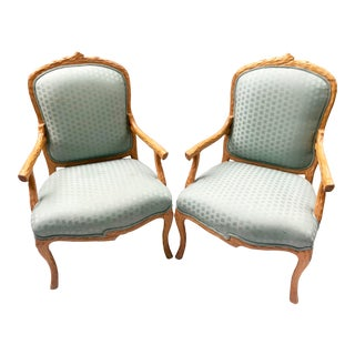 Vintage Faux Bois Bergere Style Chairs- a Pair For Sale