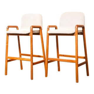 Upholstered Teak Bar Stools - a pair