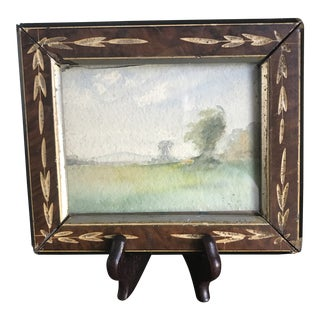 Small Vintage Landscape Scene Signed Watercolor Painting in Antique Frame For Sale