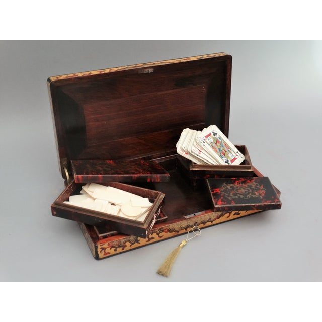 French 19th-Century French Playing Cards Box, Lock & Key, Counters For Sale - Image 3 of 8