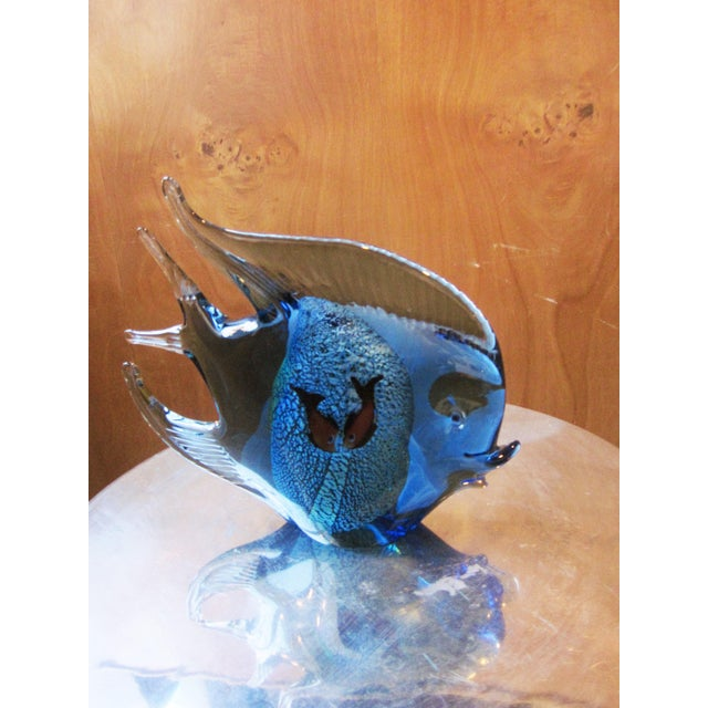 Murano 1960s Murano Glass Italian Art Glass Blue and Red Figural Fish Sculpture Object For Sale - Image 4 of 11