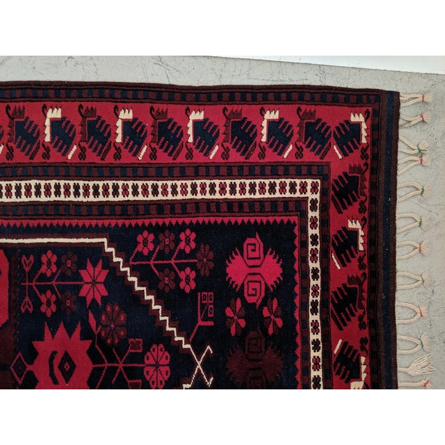 Persian, Hand- Woven Red Rug, With Braided Tassels, Vintage For Sale - Image 4 of 9