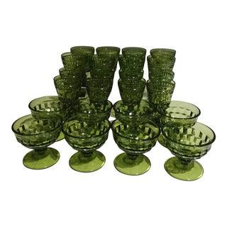 1960s Vintage Green Goblet Cut Crystal Glasses - Set of 24 For Sale