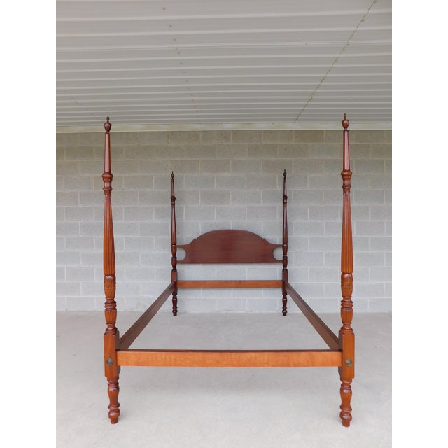 """Features Quality Solid Mahogany, Bolt through side rail attachment, """"L"""" mattress bracket supports, with Tester and Finials..."""
