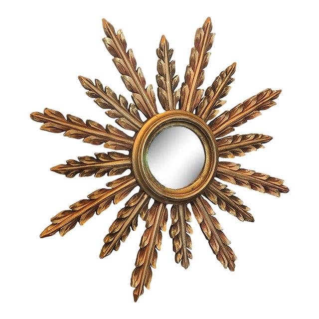Large French Mid Century Gilt Starburst Mirror For Sale