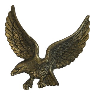 Vintage Brass Eagle Wall Sculpture For Sale