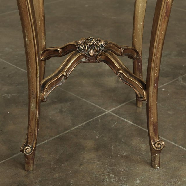 19th Century French Giltwood Marble-Top Lamp Table For Sale - Image 9 of 11