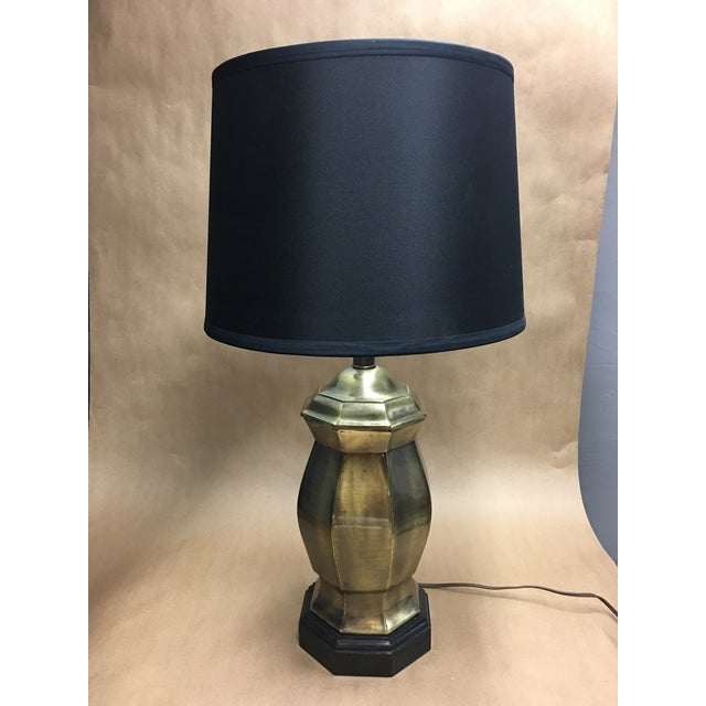 """Marvelous mid-century Frederick Cooper lamp, heavy bodied octagonal brass ginger jar seated on a darkly stained 1.75""""..."""