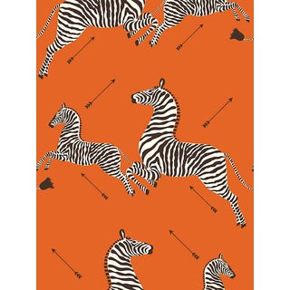 Sample, Scalamandre Zebras, Orange Wallpaper For Sale