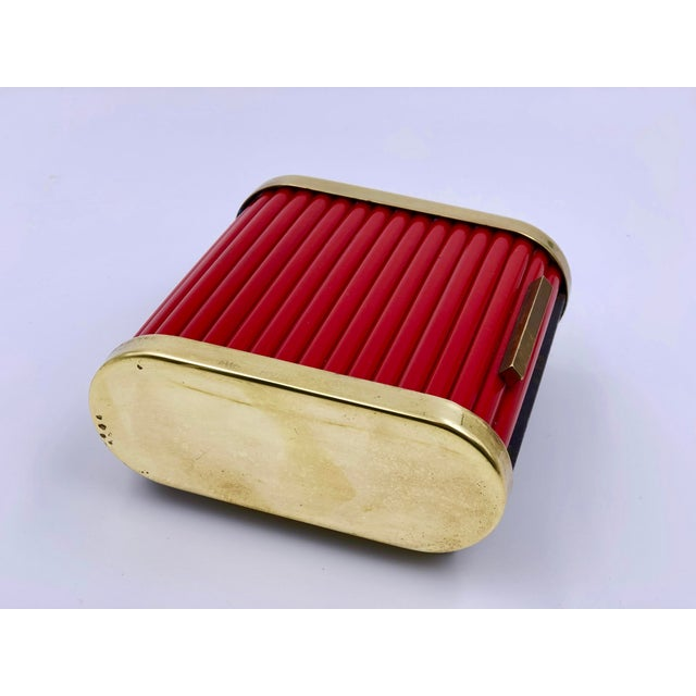 Art Deco Art Deco Tambour Top Desk Caddy of Red Bakelite and Brass by Park Sherman For Sale - Image 3 of 11