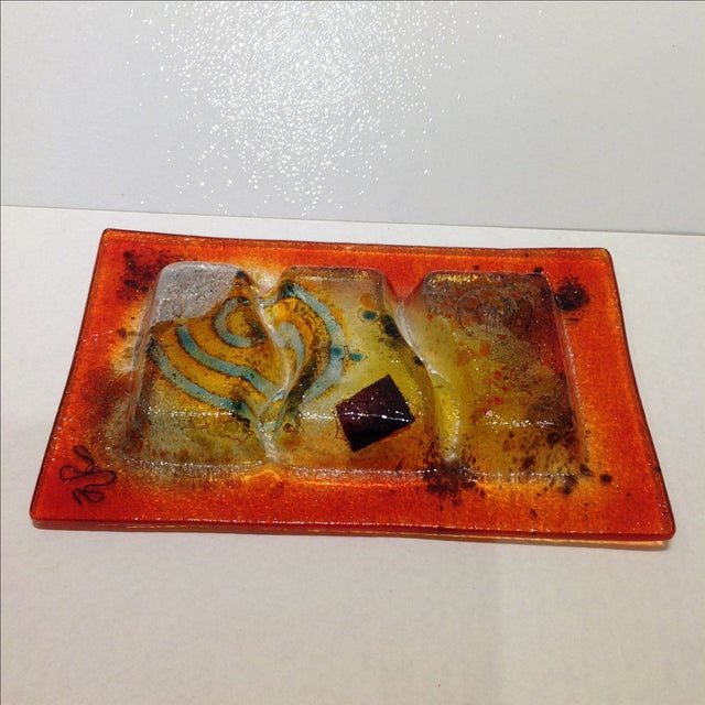 Orange Fused Glass Art Dish For Sale - Image 8 of 10