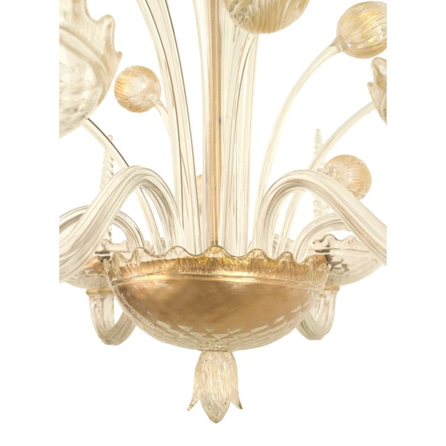 1940s 1940s Italian Murano Gold Dusted Chandelier Signed Veronese Seguso For Sale - Image 5 of 6