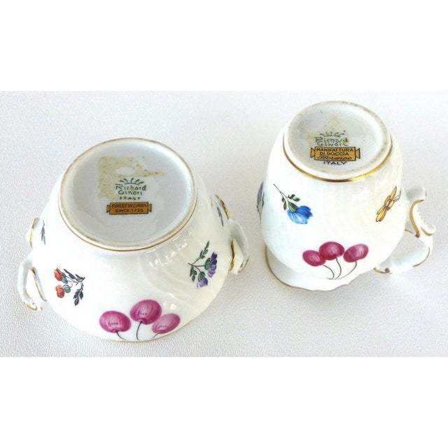 """Richard Ginori (Italy) """"Perugia"""" Lidded Sugar Bowl, Creamer, Cups and Saucers For Sale In Miami - Image 6 of 7"""