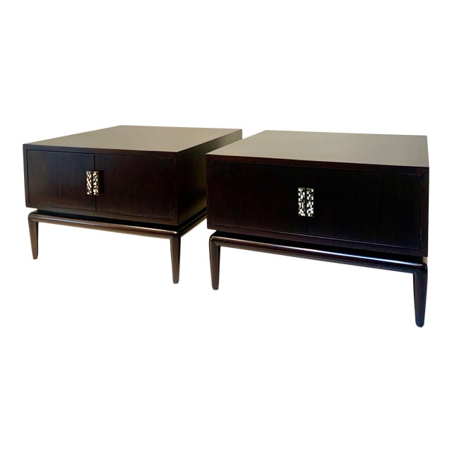 1960s Monteverdi-Young Dark Mahogany Inlaid End Tables - a Pair For Sale