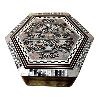 Hexagon Handmade Jewelry Box Inlaid Mother of Pearl Trinket Box Number 3 For Sale