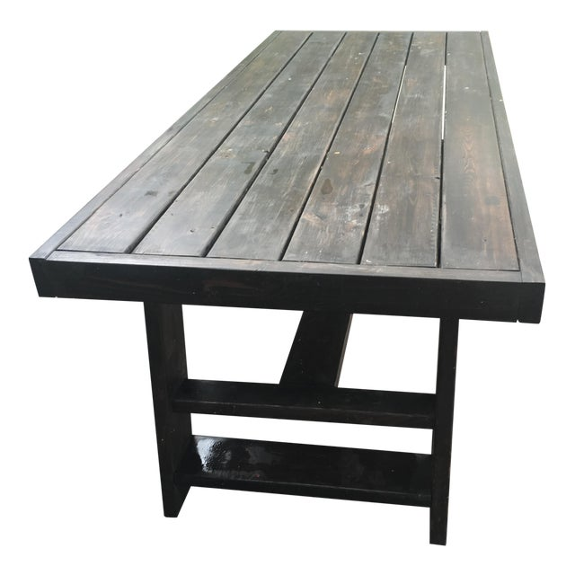 Dark Thick Wood Outdoor Dining Table Custom Made in Miami For Sale