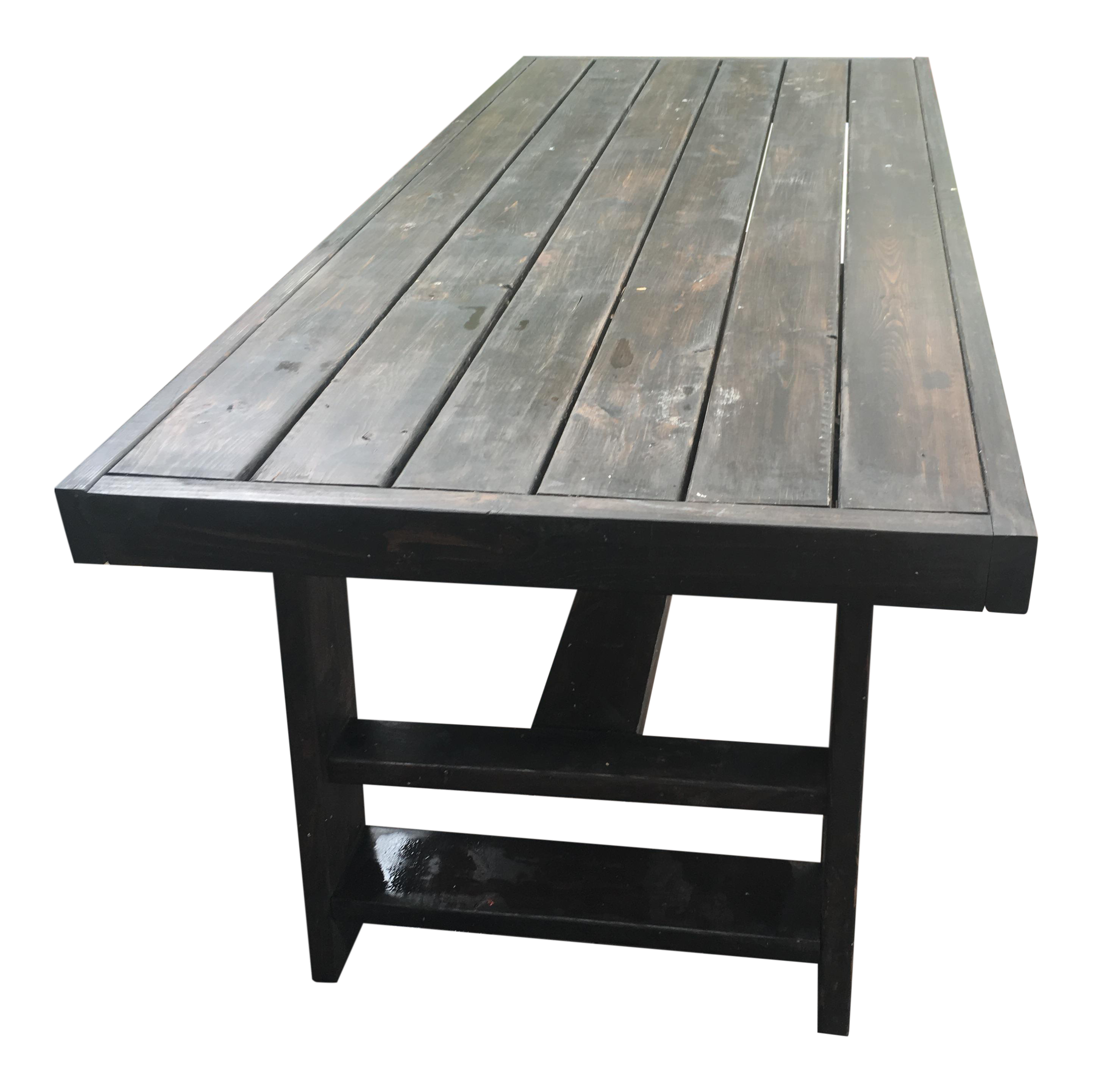 Dark Thick Wood Outdoor Dining Table Custom Made In Miami