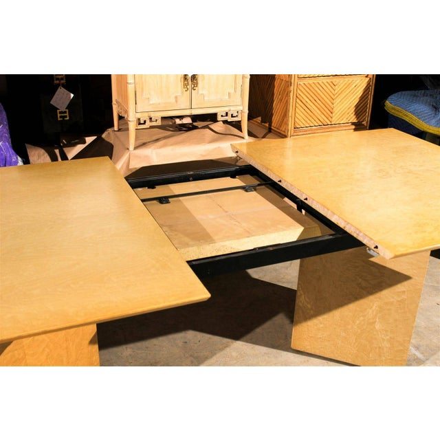 Brown Gorgeous Knife Edge Extension Dining or Conference Table in Bird's-Eye Maple For Sale - Image 8 of 11