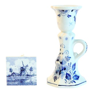 Dutch Blue & White Candle Holder & Ceramic Tile - A Pair For Sale