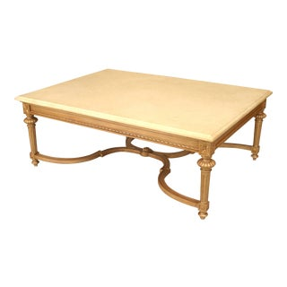 Large 20th French Louis XVI Style Marble and Gilt Carved Coffee Table For Sale