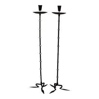 Gothic Wrought Iron Antique Pair of Floor Candle Holders
