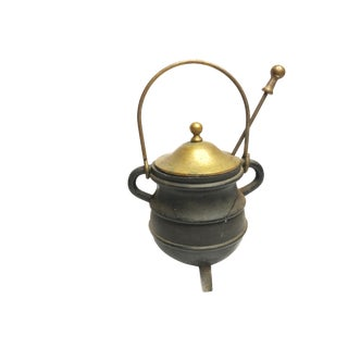 Antique Very Heavy and Substantial Cast Iron Fire Starter Cauldron Pot Kettle With Pumice Wand For Sale